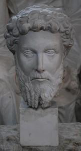 Busto in gesso dell'Imperatore Romano Marco Aurelio su plinto quadrato.