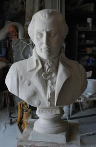 Busto in gesso del musicista Mozart.