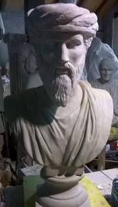 Busto in gesso di Pitagora h. cm. 80