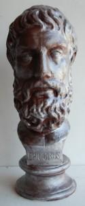 Busto del filosofo Epicuro.
