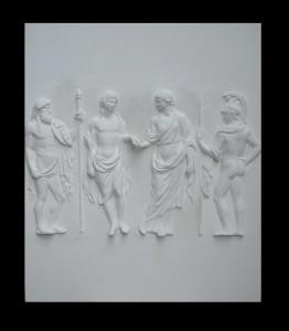 Bassorilievo LR 137 Figure per mano con guardiani