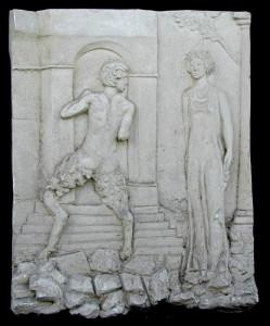Bassorilievo LR 22 Satiro e donna h. cm. 70x53